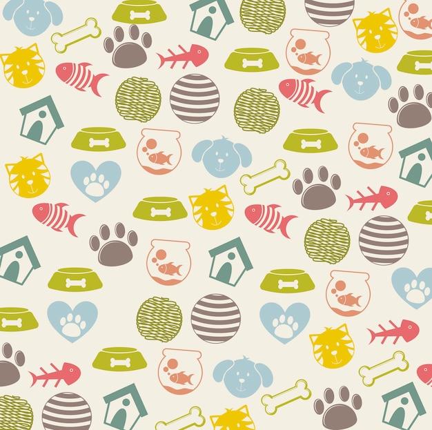 Iconos de mascotas sobre fondo beige ilustración vectorial