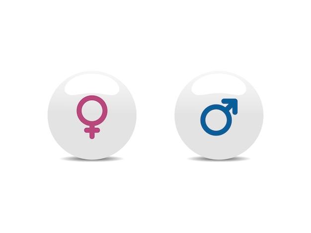 Iconos masculinos y femeninos en botones blancos. ilustración vectorial