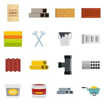 Iconos de materiales de construcción establecidos en estilo plano