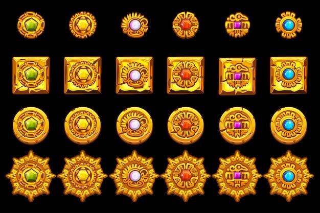 Iconos mayas azteca americana, cultura maya símbolos de oro.