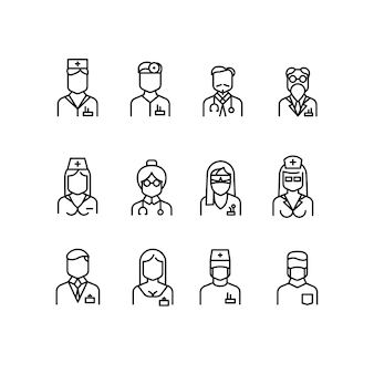 Iconos de médico, símbolos de enfermera, avatares de profesionales médicos