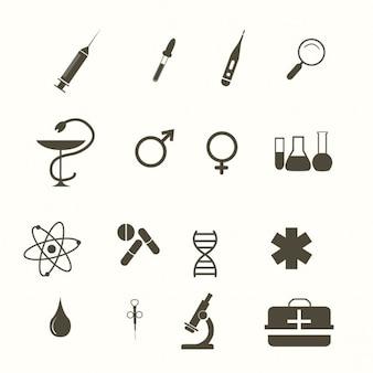 Iconos médicos, blanco y negro