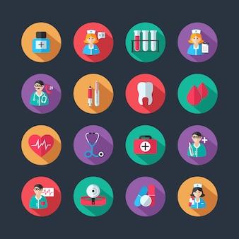 Iconos médicos y doctor avatares establecidos