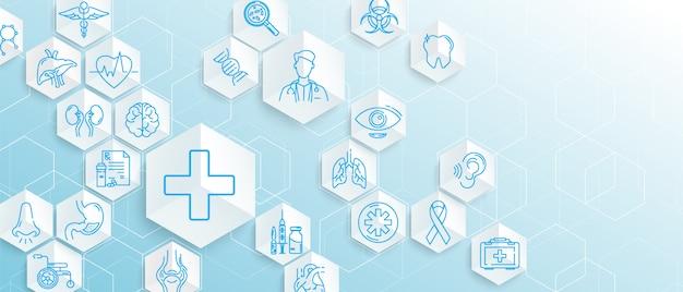 Los iconos médicos con hexágonos geométricos forman medicina y ciencia concepto de fondo