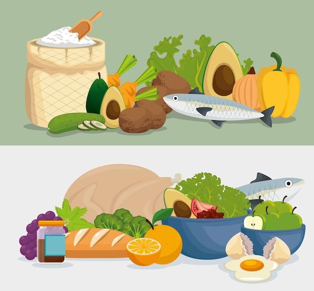 Iconos de menú de comida sana