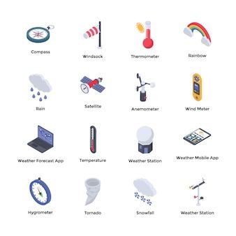 Iconos de meteorología meteorológica