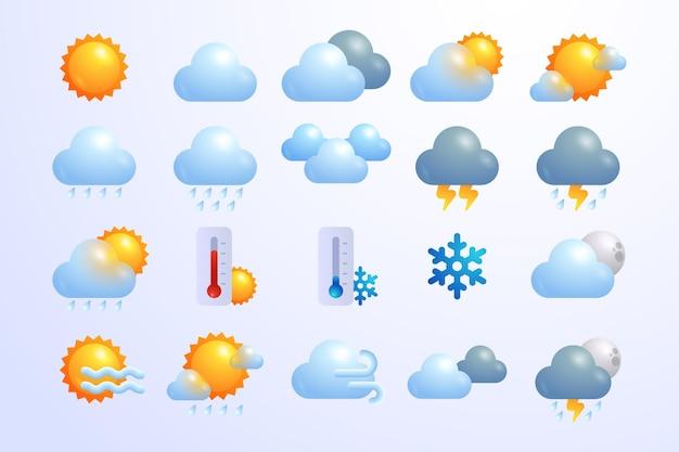 Iconos meteorológicos degradados para aplicaciones