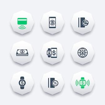 Iconos de métodos de pago modernos en formas de octágono, tarjeta sin contacto, pago con dispositivos portátiles, ilustración