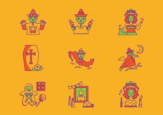 Iconos de méxico de vacaciones del día de muertos con mapa de méxico, disfraz de calavera, mujer bailando y decoración de marcos