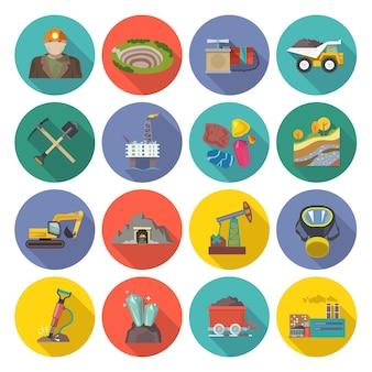 Iconos de minería planos