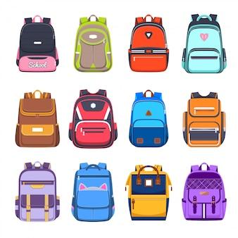 Iconos de mochilas escolares y mochilas, bolsos