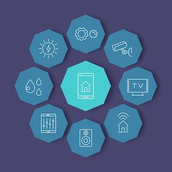 Iconos modernos de la línea smart house en formas de octágono