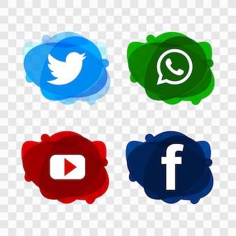 Los iconos modernos de las redes sociales establecen vector de diseño