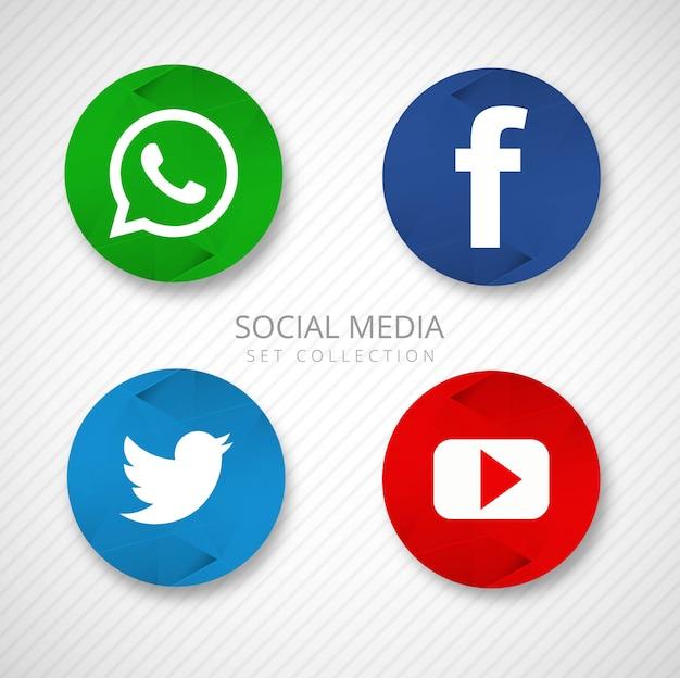 Los iconos modernos de las redes sociales establecen vector de ilustración