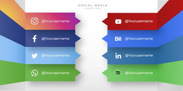 Iconos modernos de redes sociales con tercio inferior