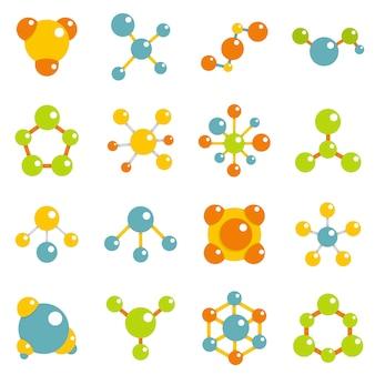 Iconos de la molécula establecidos en estilo plano