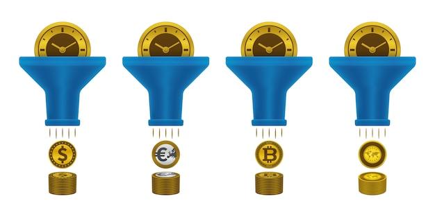 Iconos de monedas, reloj y embudo