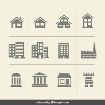 Iconos monocromáticos edificio