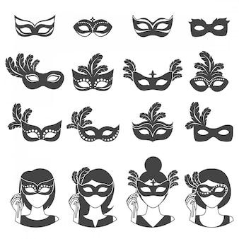 Iconos de monocromo de carnaval de bola