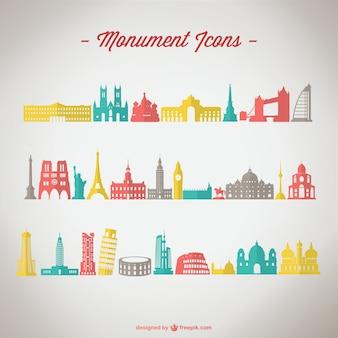 Iconos de monumentos de colores