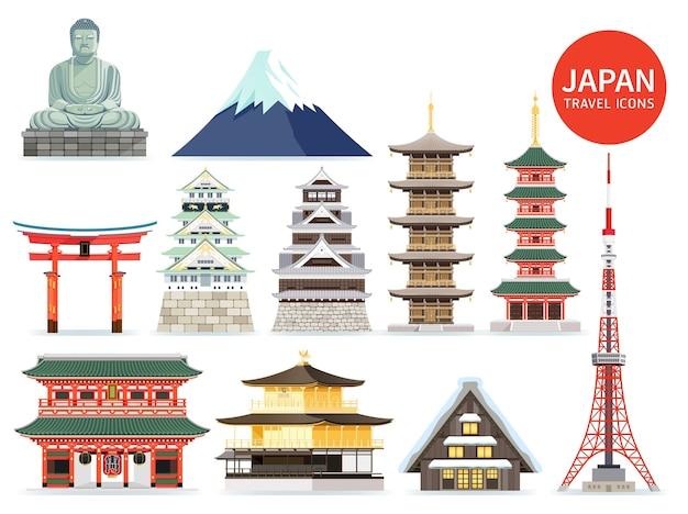 Iconos de monumentos famosos de japón. ilustraciones.