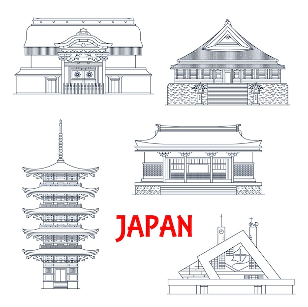 Iconos de monumentos, templos y pagodas de japón