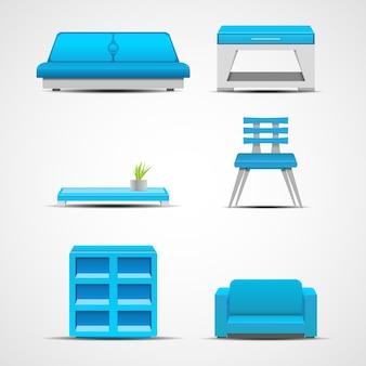 Iconos de muebles. concepto gráfico