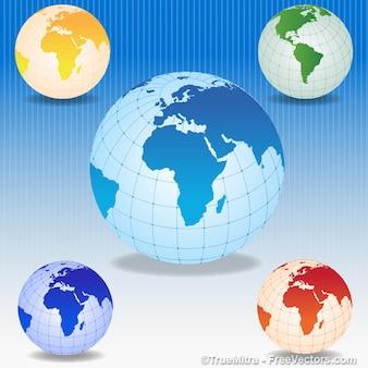 Iconos mundo colorido conjunto de vectores