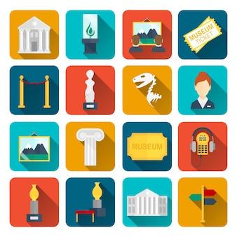 Iconos de museo conjunto plano de barrera de lienzo de signo aislado ilustración vectorial