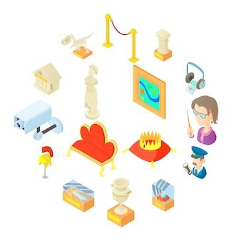 Iconos de museo en estilo de dibujos animados
