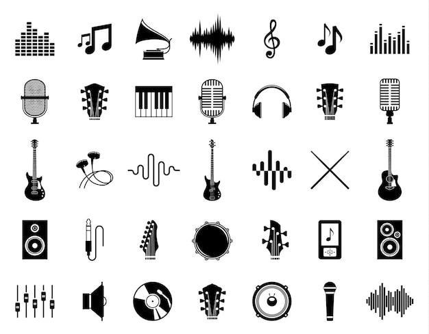 Íconos de la música para el podcast de la etiqueta del estudio de grabación de la tienda de audio y la estación de radio
