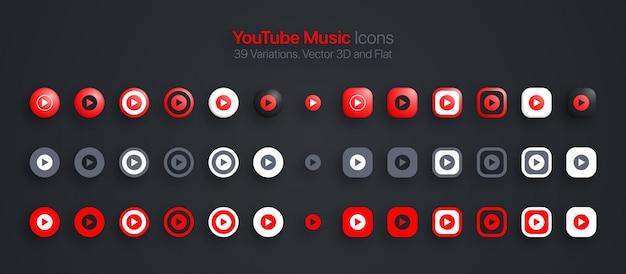 Iconos de música de youtube establecidos en 3d moderno y plano en diferentes variaciones