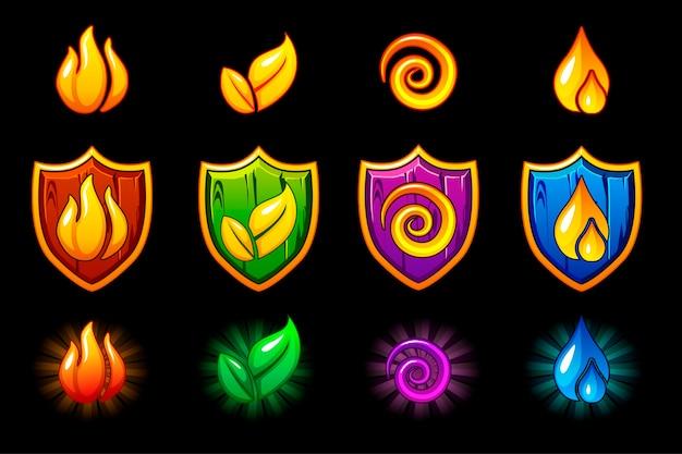 Iconos de la naturaleza de cuatro elementos, conjunto de escudo de madera.