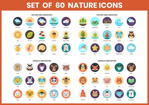 Iconos de la naturaleza para negocios
