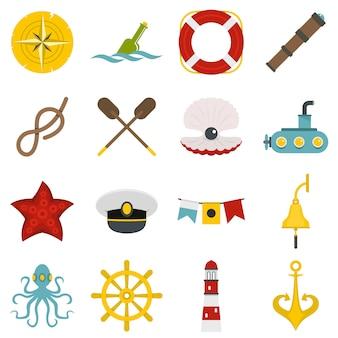 Iconos náuticos establecidos en estilo plano