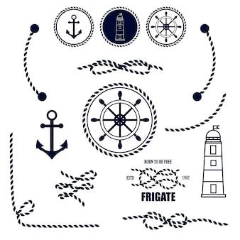 Iconos náuticos y marinos.