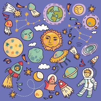 Iconos de nave espacial de dibujos animados con planetas, cohetes, astronautas y estrellas. dibujado a mano ilustración.