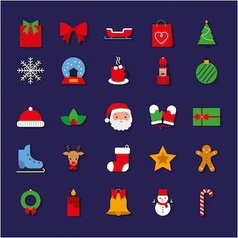 Iconos de navidad conjunto de colores. ilustración