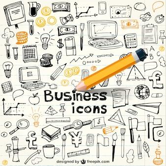 Iconos de negocio en estilo garabateado