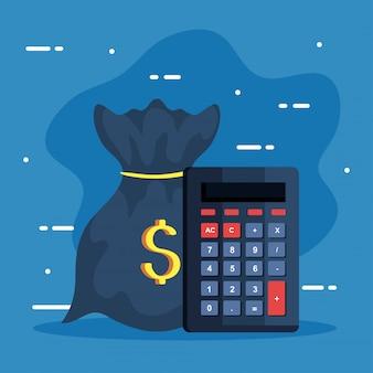 Iconos de negocios, calculadora matemática con bolsa de dinero