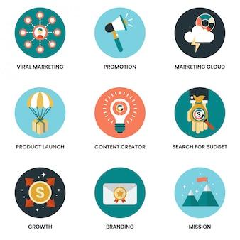 Iconos de negocios establecidos para los negocios, marketing