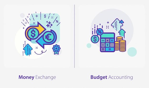 Iconos de negocios y finanzas, cambio de moneda, contabilidad presupuestaria