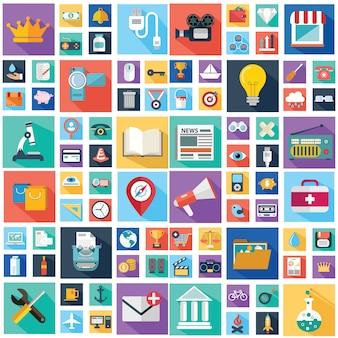 Iconos de negocios y finanzas con larga sombra