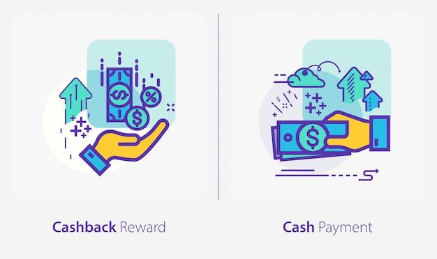 Iconos de negocios y finanzas, recompensa de reembolso, pago en efectivo