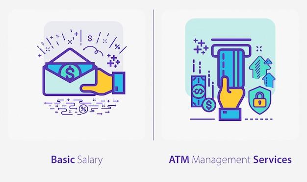 Iconos de negocios y finanzas, salario básico, servicio de gestión de cajeros automáticos