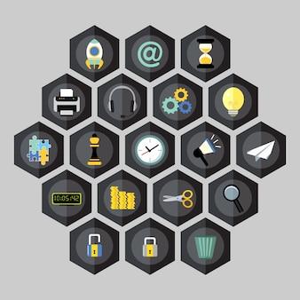Iconos de negocios del hexágono