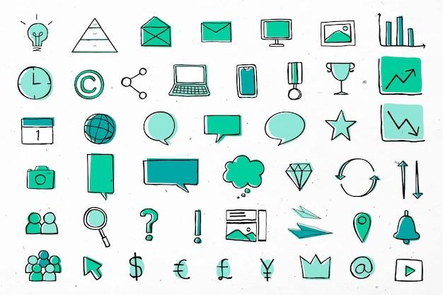 Iconos de negocios útiles para la comercialización de la colección verde