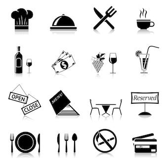 Iconos negros de restaurante
