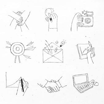 Iconos negros de trabajo en equipo con conjunto de diseño de arte doodle