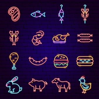 Iconos de neón de barbacoa. ilustración de vector de promoción de barbacoa.